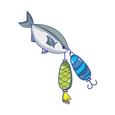fish bitting spinner object to catch it