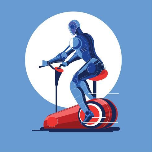 Ilustración de robots en bicicleta de ejercicios para deporte de gimnasio