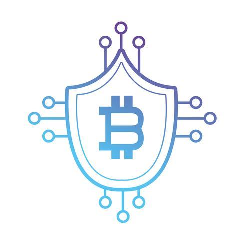 Line-Bitcoin-Schild mit elektronischen Schaltkreisen
