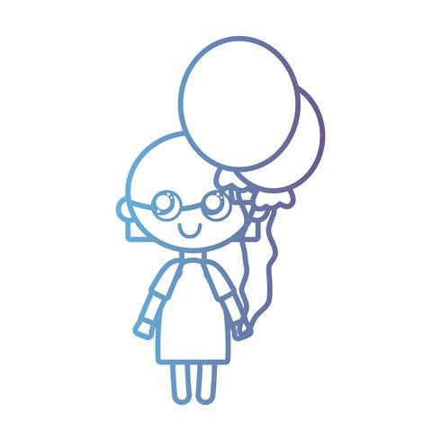Linie Mädchen mit Frisur Design und Luftballons