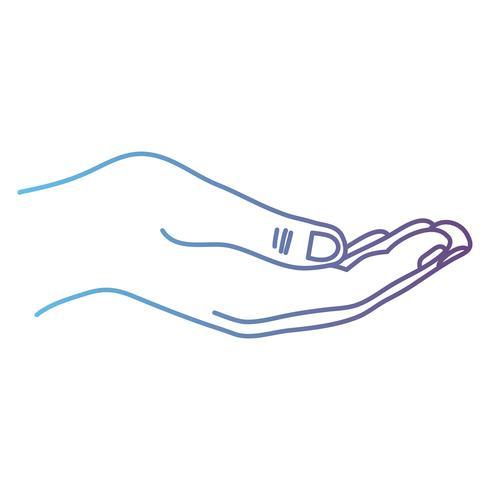 lijn persoon hand met vinger en cijfers