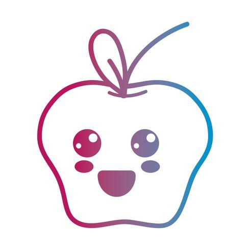 lijn kawaii schattig blij appelfruit