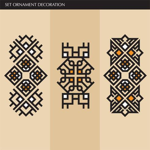 Elegantes líneas de adornos japoneses, caligráficos, aztecas elegantes para etiqueta vector