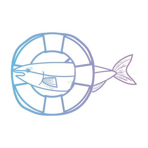 linje fisk med livboj objekt design