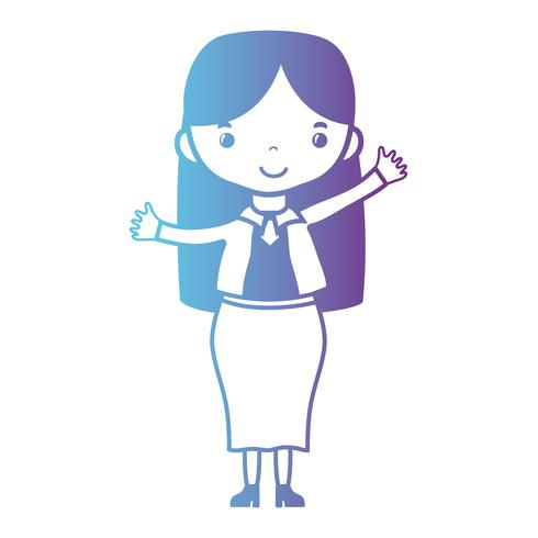 line woman with hairstyle and elegant clothes design