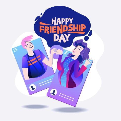 Froher Freundschafts Tag. Vektorillustration von Freunden von den sozialen Netzwerken
