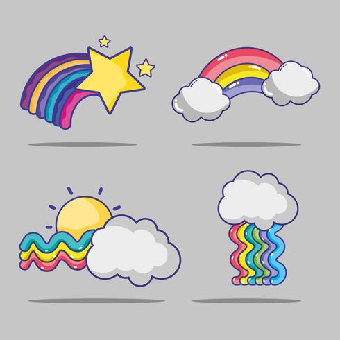 set rainbow with stars and clouds design