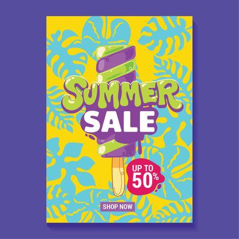 Illustration de vente d'été avec fond de plage et de feuilles tropicales