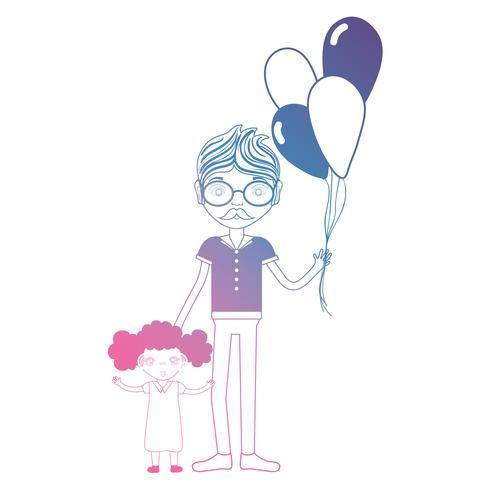 Linie Vater mit seiner Tochter und Ballonentwurf