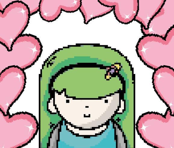 Jolie fille pixel art vecteur
