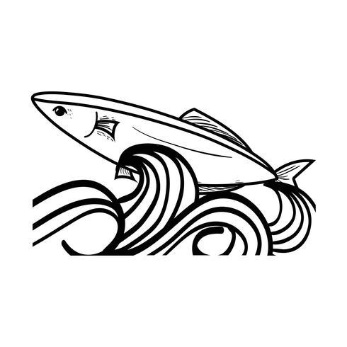 Linie Fischtier im Meer mit Wellenentwurf