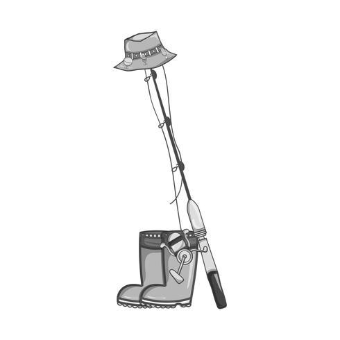 Graustufen-Angelwerkzeug mit Stiefeln und Sincast mit Hut