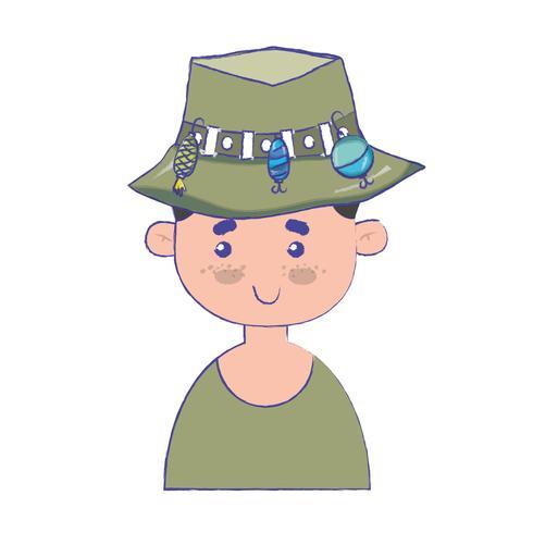 pescador com design de chapéu e esporte engraçado