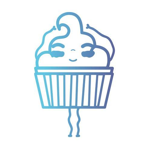 linha kawaii bonito feliz doce muffin