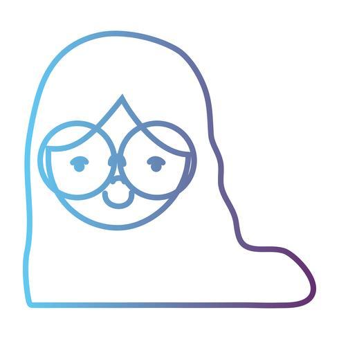 Linie Avatar Mädchen Kopf mit Frisur Design