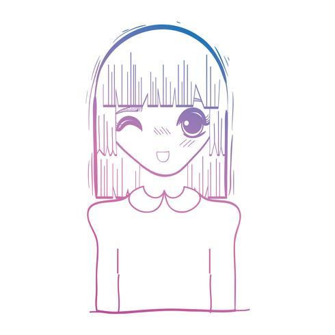 Linie Schönheit Anime Mädchen mit Frisur und Bluse