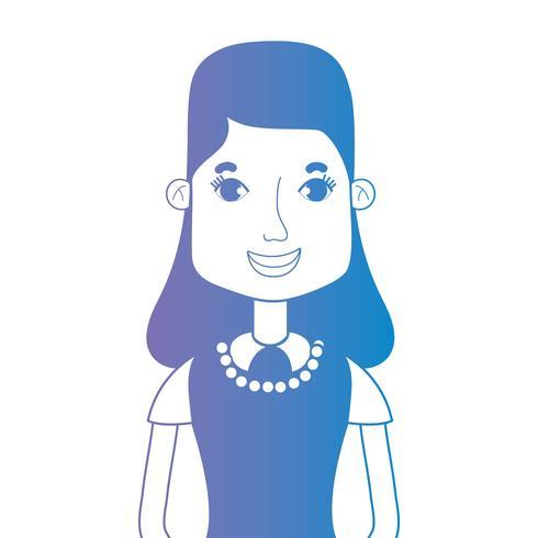 Línea avatar mujer con peinado y blusa.