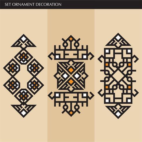 Lignes d'ornement élégantes japonaises, calligraphiques et aztèques de luxe