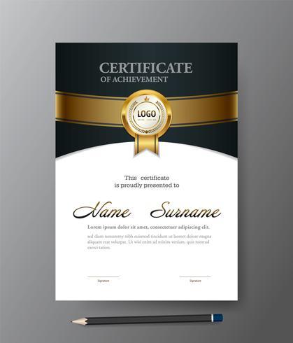 Modern Gouden certificaatmalplaatje, A4 groottediploma, vectorillustratie