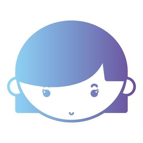 sagoma avatar ragazza testa con acconciatura vettore