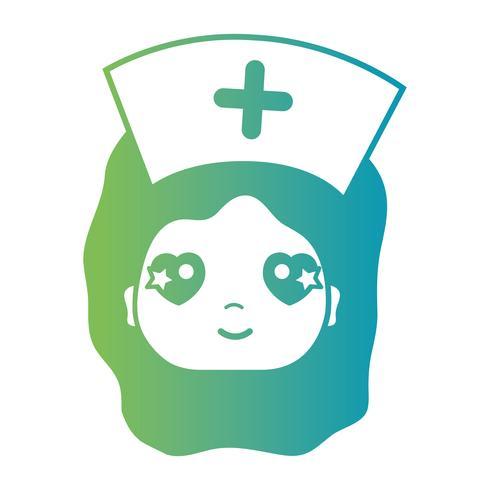 lijn vrouw verpleegster hoofd met kapsel ontwerp