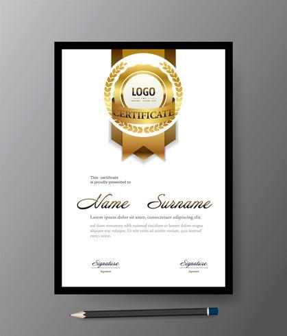Modèle de certificat d'or moderne, diplôme de taille A4, illustration vectorielle