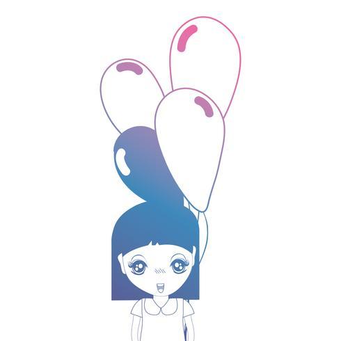 lijn meisje met kapsel en ballonnen in de hand vector
