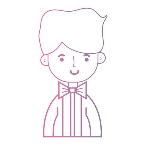Chico simpatico de linea con elegante traje y peinado de diseño. vector