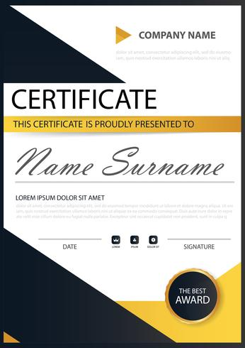 Horizontales Zertifikat der gelben schwarzen Eleganz mit Vektorillustration, weiße Rahmenzertifikatschablone mit sauberer und moderner Musterdarstellung