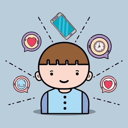 jongen met smartphone pictogrammen chatbericht vector