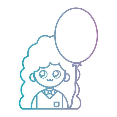 lijn meisje met kapsel en ballon ontwerp vector