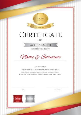 Luxus Zertifikatvorlage mit eleganten goldenen Rahmen, Diplom-Design für Abschluss oder Abschluss