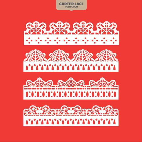 Set Garter Lace Ornament for Embroidery Cutting Paper and Laser Cut vector
