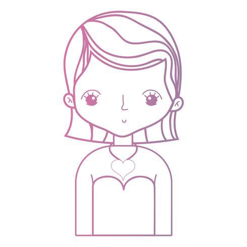 lijn schoonheid vrouw met kapsel desiand en blouse vector