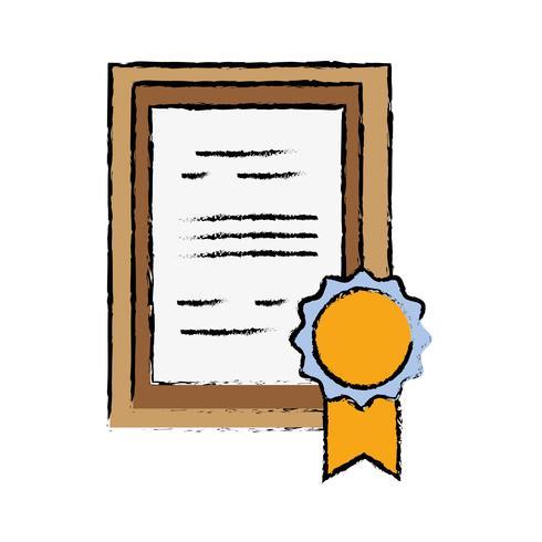 Diploma de graduación certificado con marco de madera vector