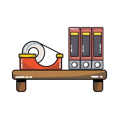 étagère en bois avec livres et ruban adhésif