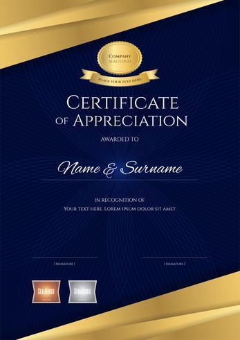 Plantilla de certificado de lujo con elegante marco azul y dorado, diseño de diploma para graduación o finalización