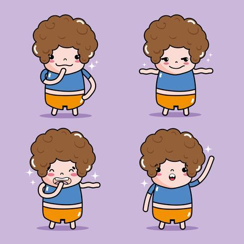 set boy emoticon character faces bericht vector