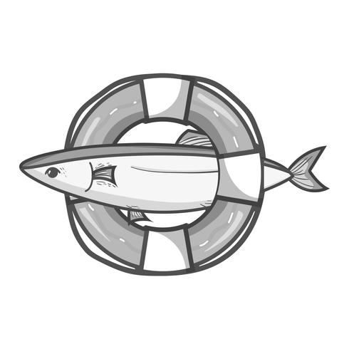 Peces en escala de grises con diseño de objeto salvavidas