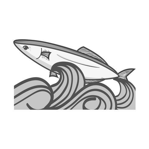grijstinten vis dier in de zee met golven ontwerp vector