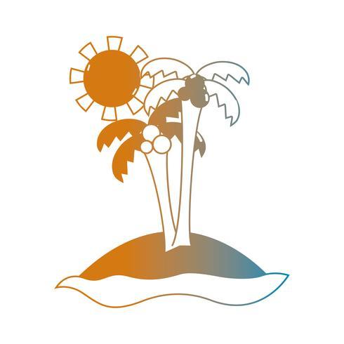 line summer beach and tropical paradise vector
