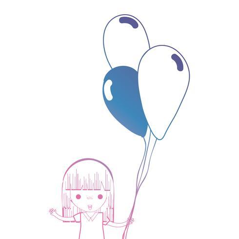 Linie Mädchen mit Frisur und Luftballons in der Hand