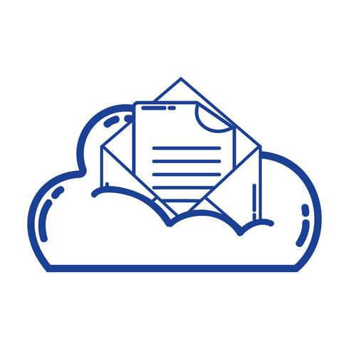 silhouette cloud data and card with document information vector