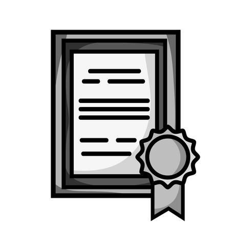 Certificado de graduación en escala de grises con diseño de marco de madera
