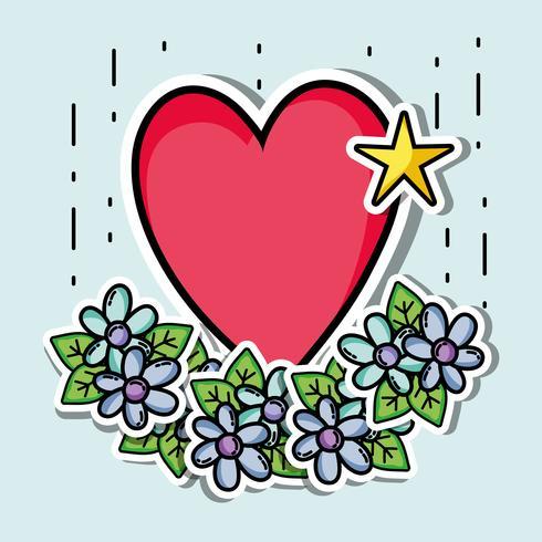 Patches Design mit Valentinstag Symbol der Liebe
