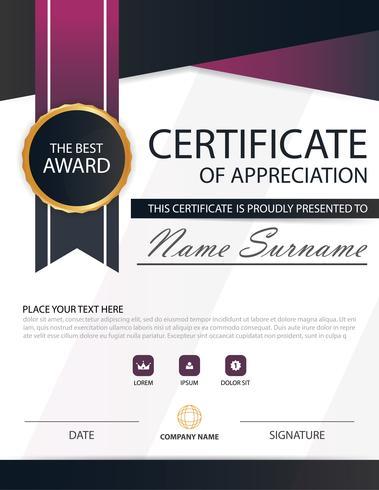Certificado horizontal de elegancia negro púrpura con ilustración vectorial, plantilla de certificado de marco blanco con presentación de patrón limpio y moderno