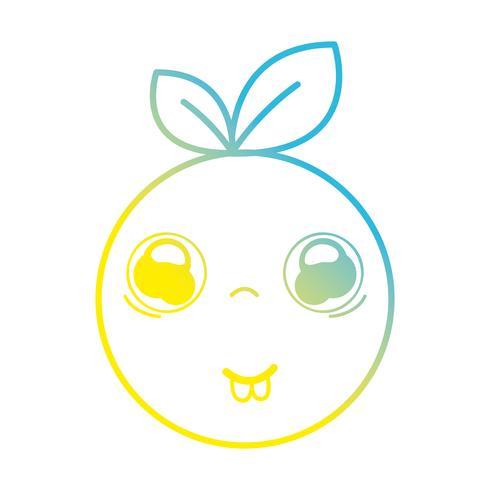 linje kawaii söt rolig apelsin frukt
