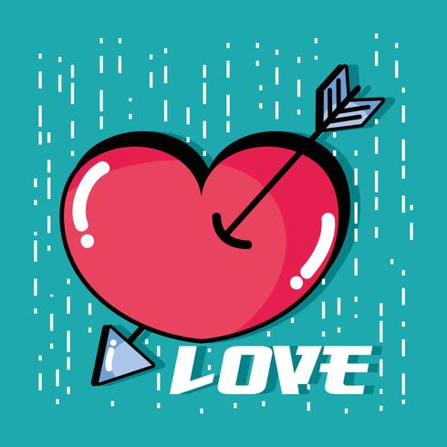 Herz mit Pfeil zum romantischen Symboldesign
