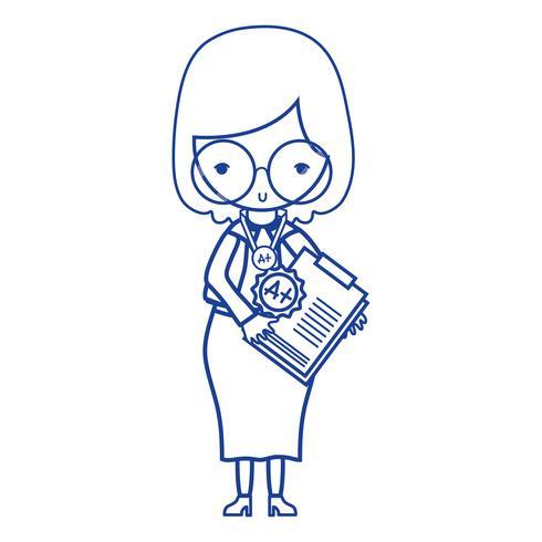 siluettlärare med glasögon och rapporttest
