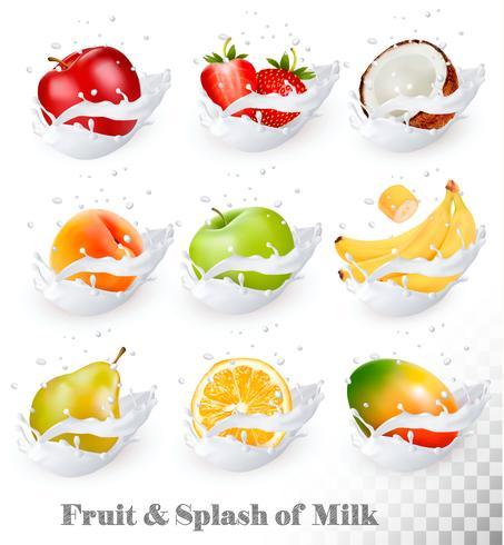 Große Ansammlung Frucht in einem Milchspritzen. Apfel, Mango, Banane, Pfirsich, Birne, Orange, Kokos, Erdbeere. Vektorsatz 1.